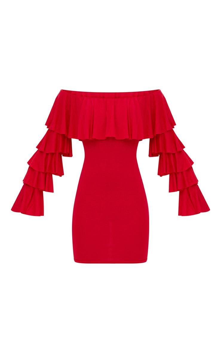Red Ruffle Sleeve Bardot Bodycon Dress 3