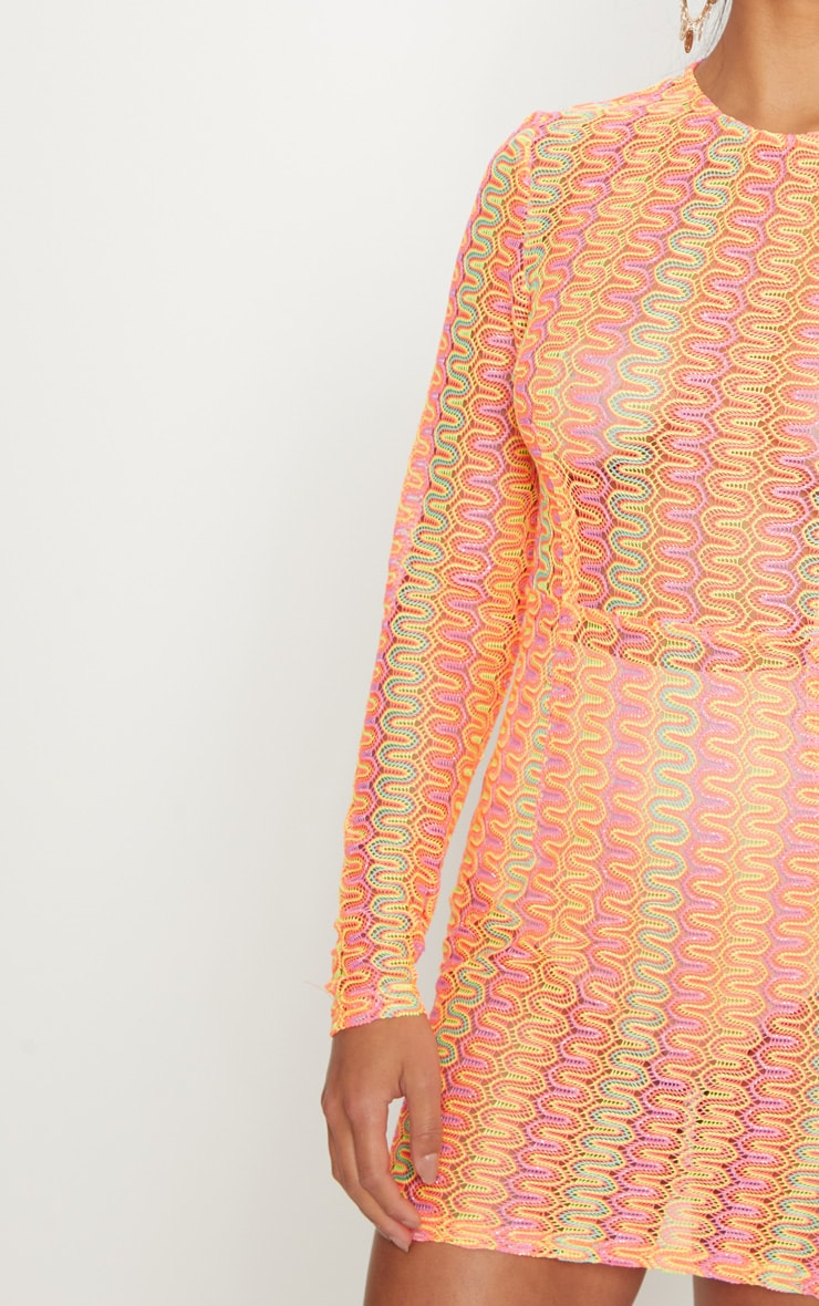 Petite Neon Pink Crochet Shift Dress 5