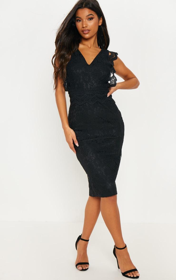 Black Lace Trim Detail Midi Dress by Prettylittlething