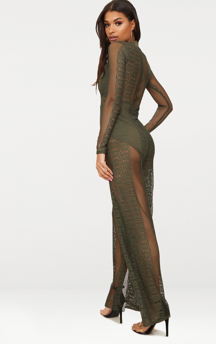 Khaki Lace High Neck Bra Insert Jumpsuit 2