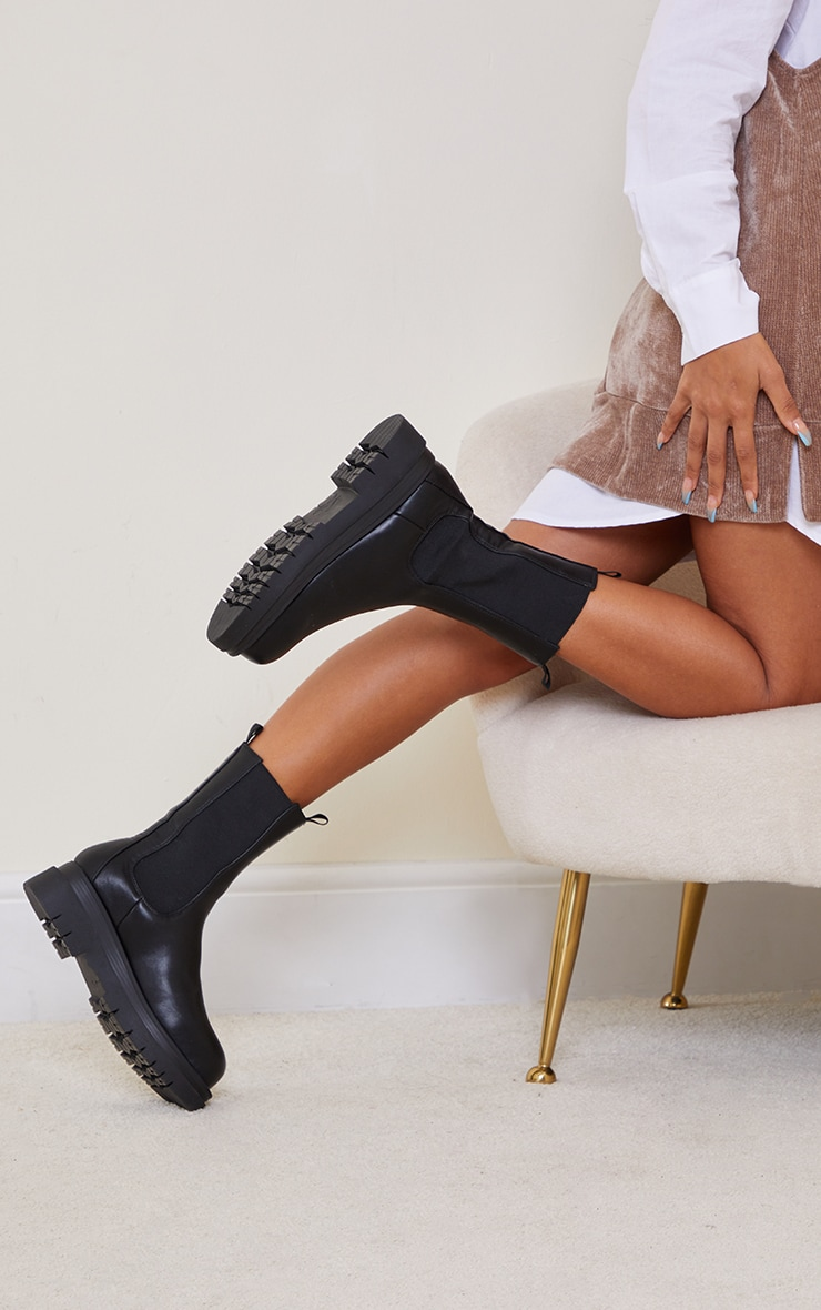 Black PU Calf Length Chelsea Chunky Boots 2