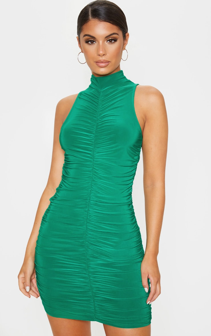 Cheap near green ruched bodycon dress