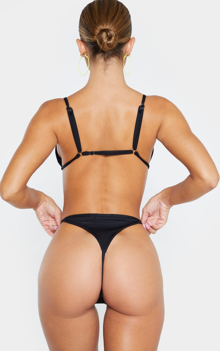 Black Mix & Match String Thong Bikini Bottom 3