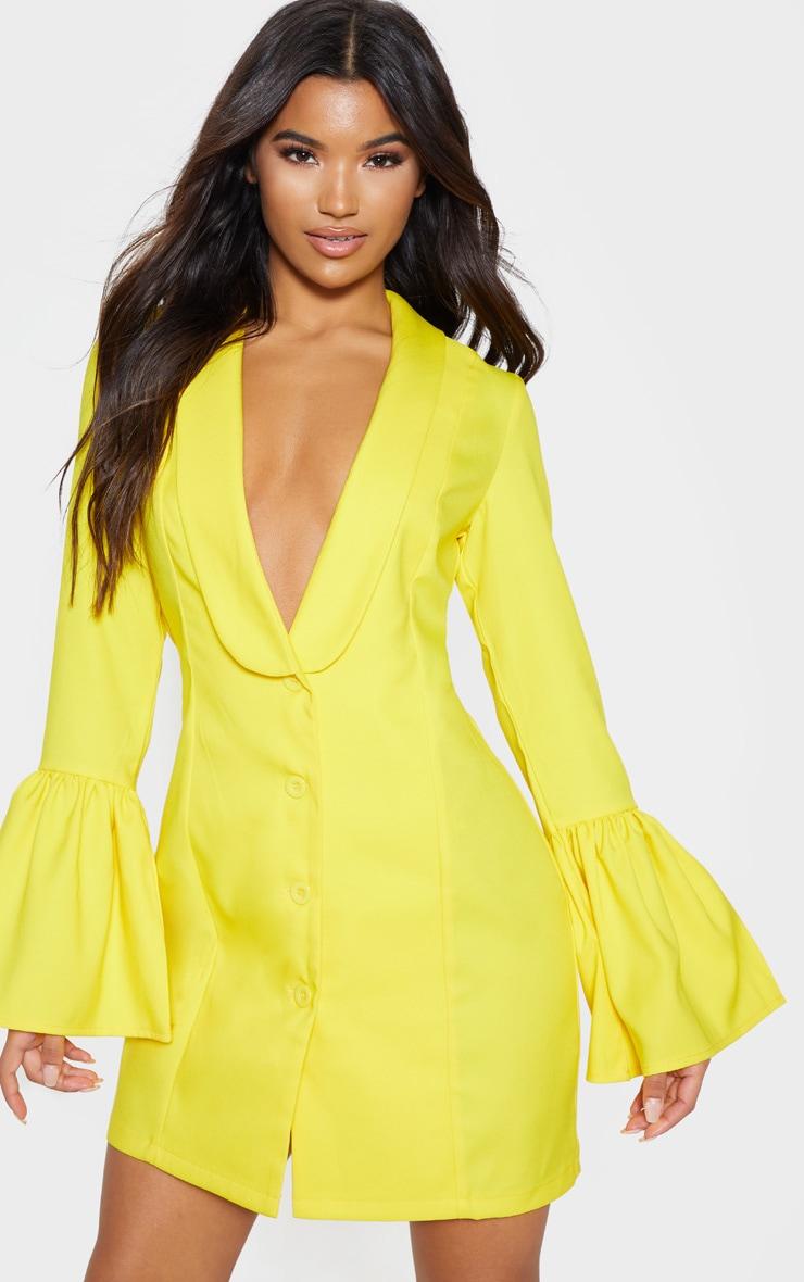 Yellow Flare Sleeve Blazer Dress 1