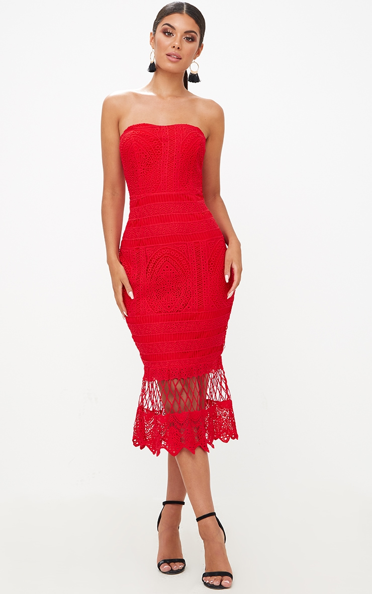 Red Lace Bandeau Longline Midi Dress 1