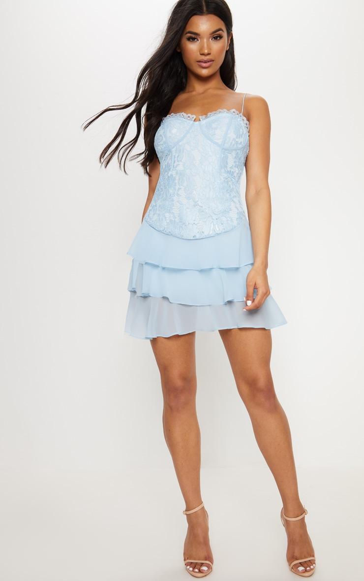 Dusty Blue Lace Chiffon Tier Skater Dress 4