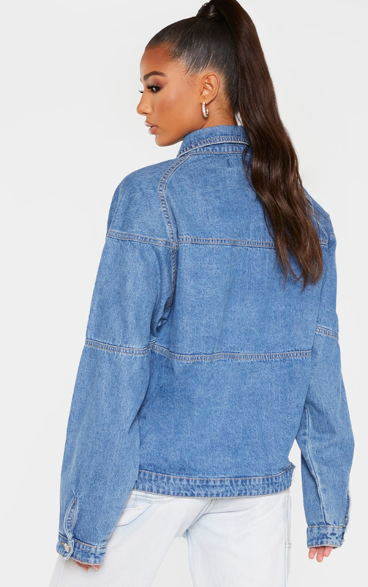 Mid Wash Oversized Trucker Boyfriend Denim Jacket 2
