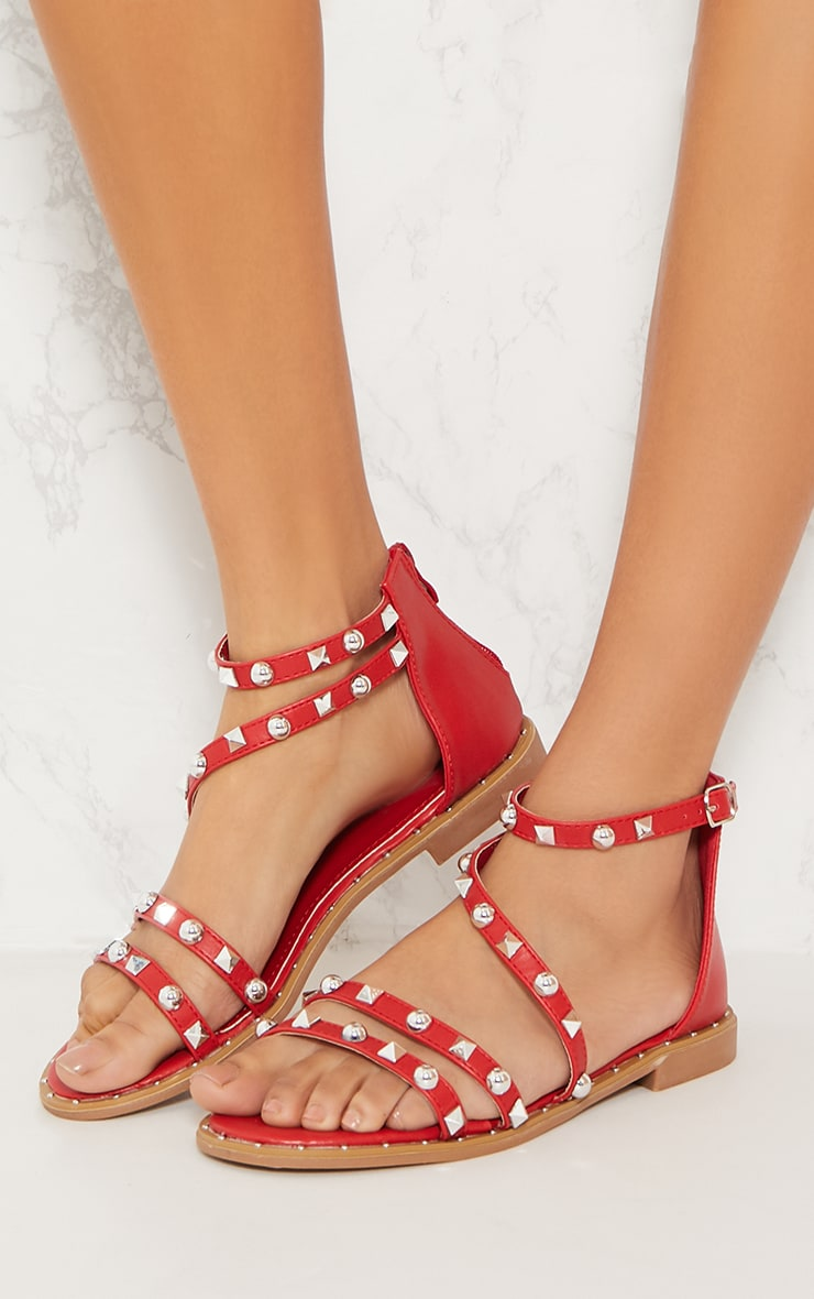 Red Studded Strappy Flat Sandals 2