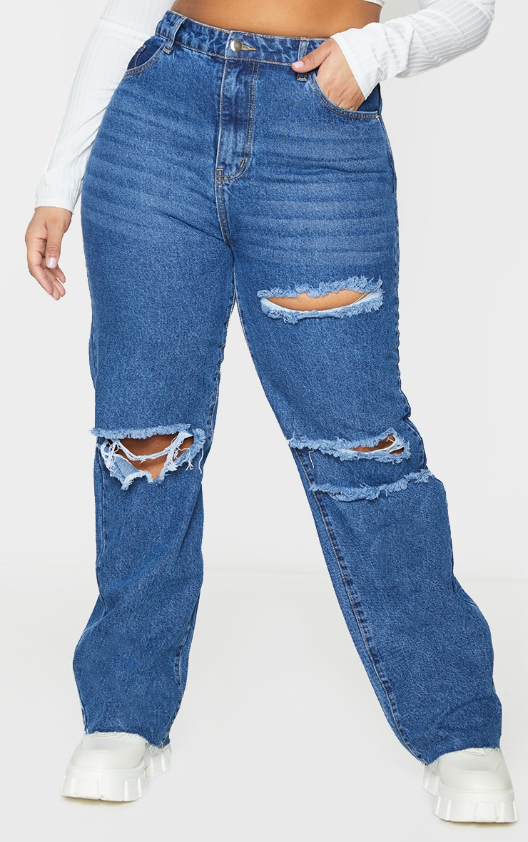 PRETTYLITTLETHING Plus Mid Blue Wash Distressed Long Leg Straight Jeans 2