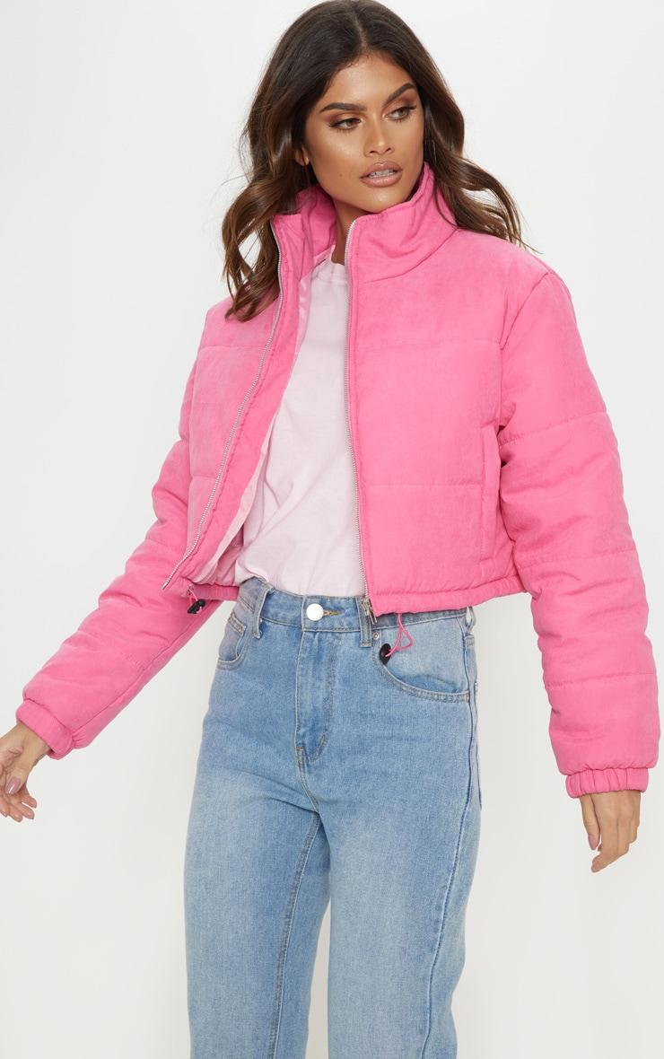 Pink Super Cropped Peach Skin Puffer 4