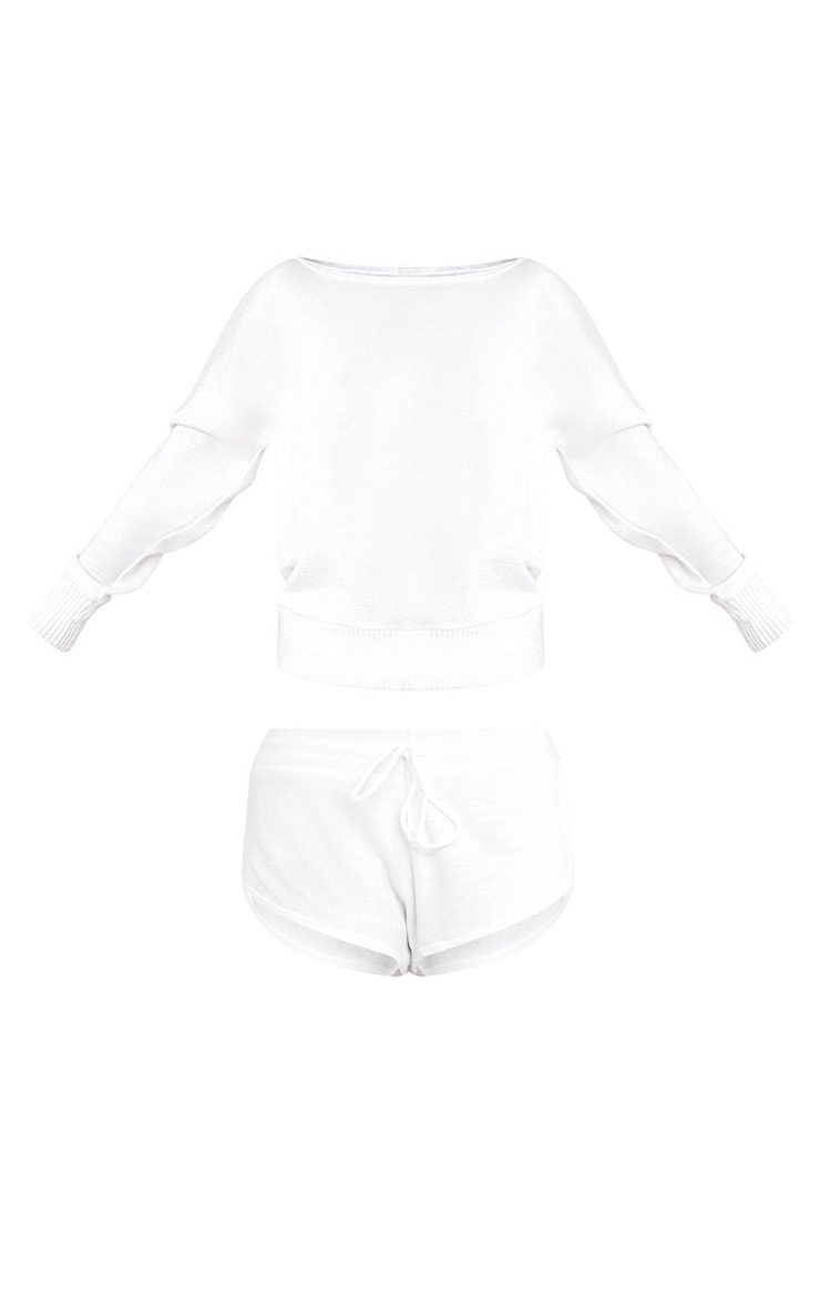 White Short and Jumper Knitted Lounge Set 3