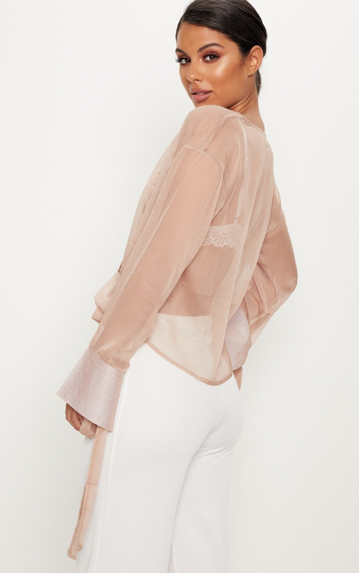 Nude Sheer Mesh Wrap Front Blouse 2