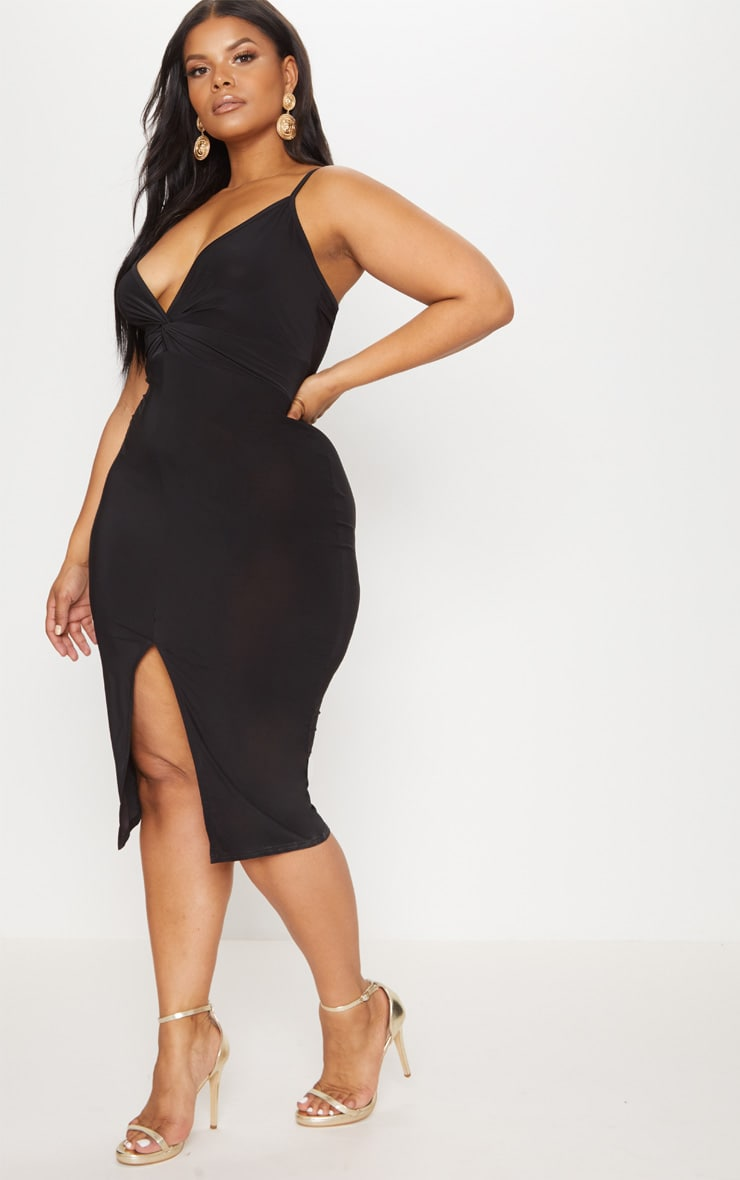 Plus Black Slinky Strappy Twist Front Midi Dress 4