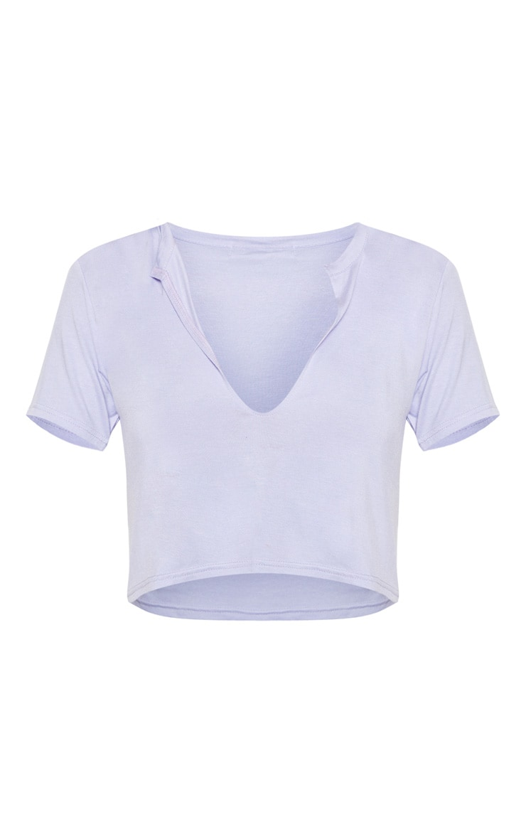 Basic Lilac V Neck Crop T Shirt 3