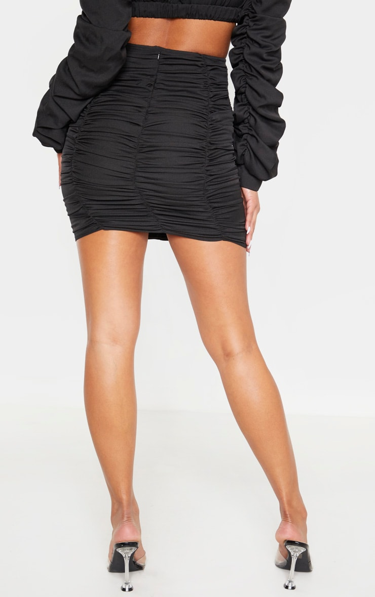 Black Ruched Seam Detail Mini Skirt 2