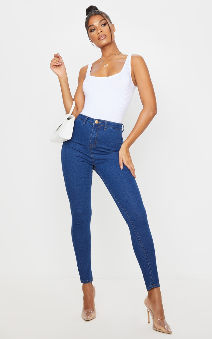 Mid Wash Basic High Waisted Disco Skinny 1