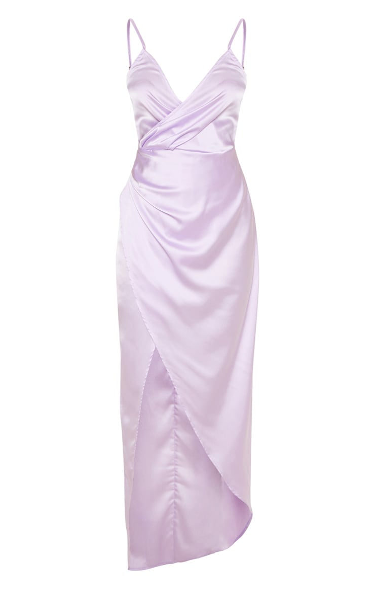 Petite Lilac Satin Wrap Detail Maxi Dress 3