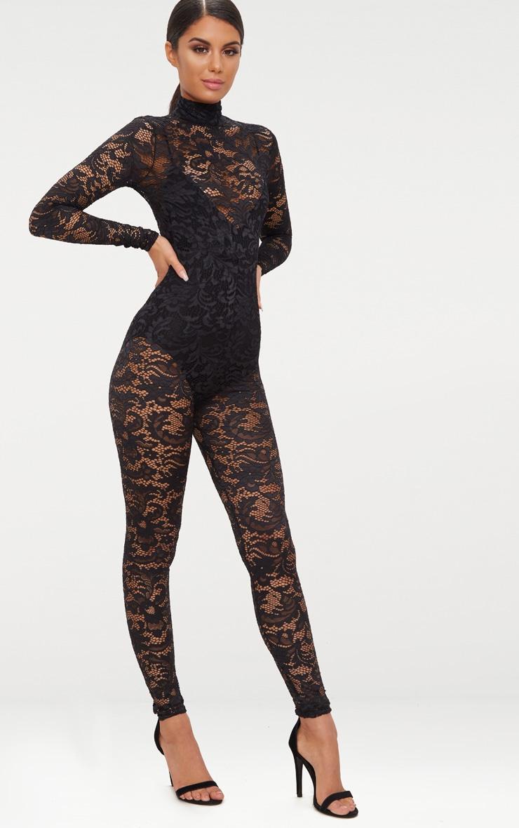 Black Lace High Neck Jumpsuit 4