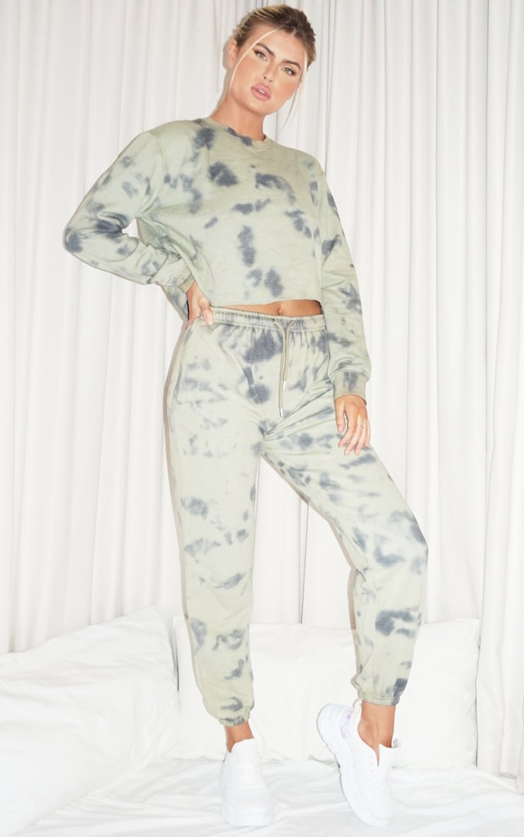 Tall Sage Green Acid Wash Oversized Joggers 1