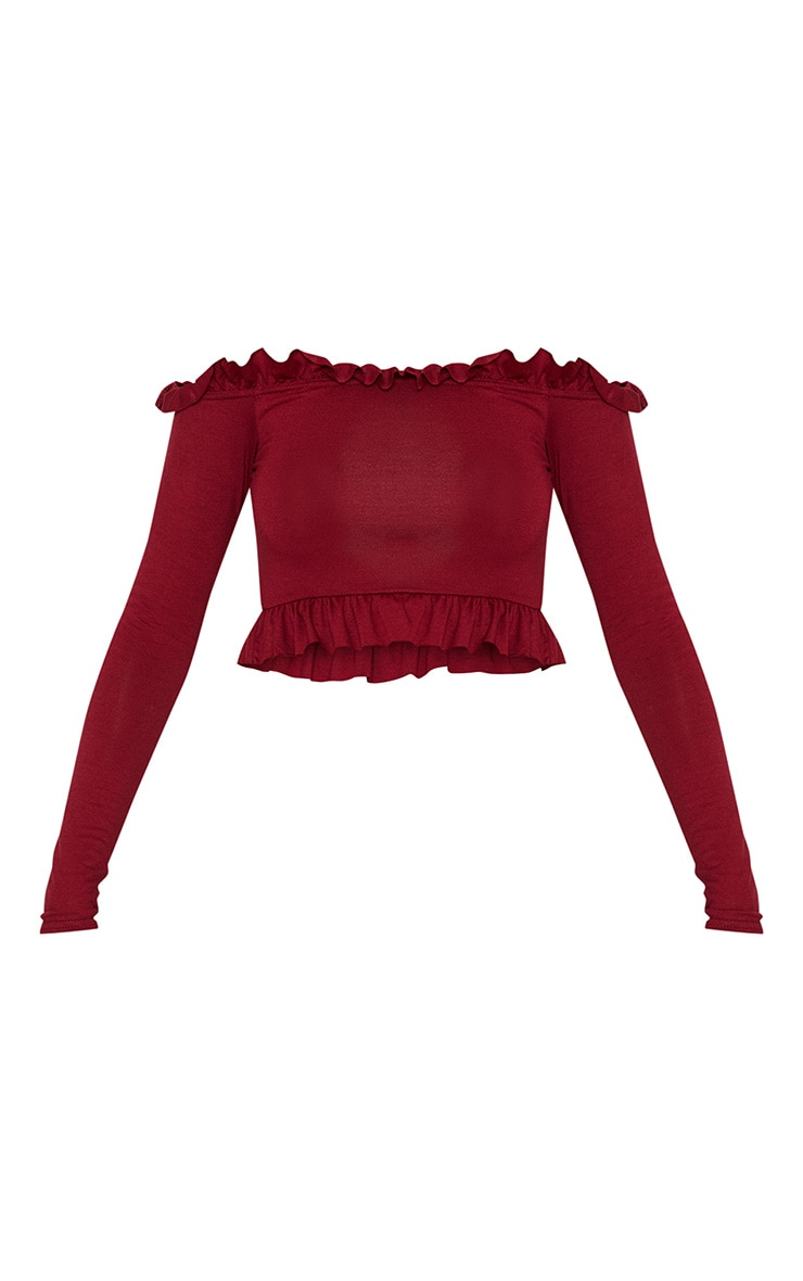 Deep Burgundy Bardot Frill Jersey Crop Top 3