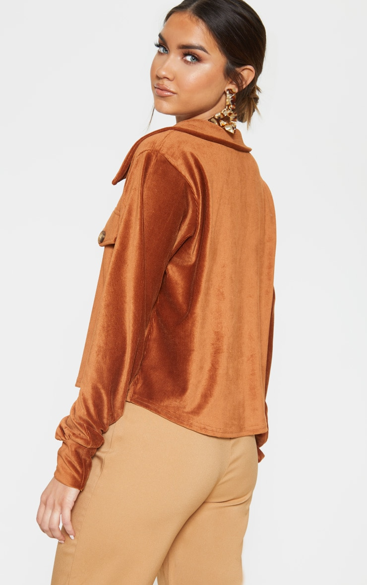 Rust Textured Rib Button Front Oversized Shirt 2