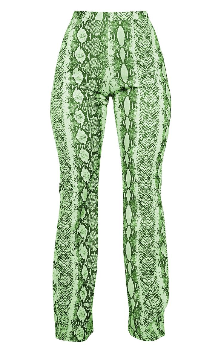 Neon Lime Snake Print High Waisted Flare Pants 3