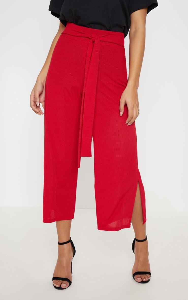 Red Ribbed Tie Waist Split Hem Culotte  2