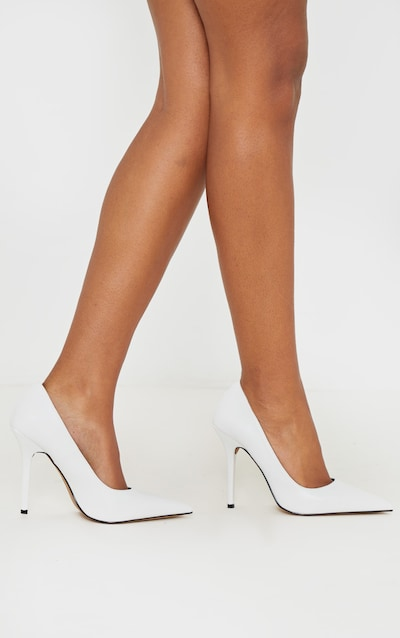 White Square Heel Court Shoe