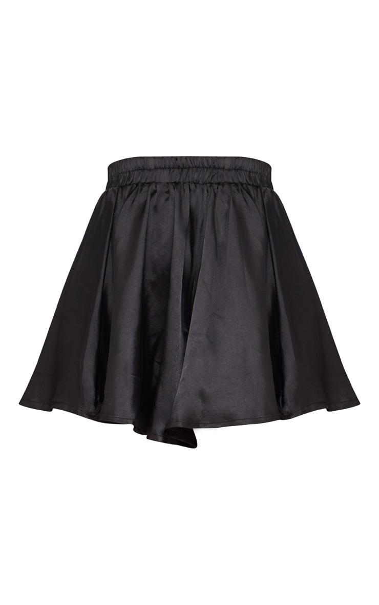 Petite Black  Floaty Satin Shorts 3