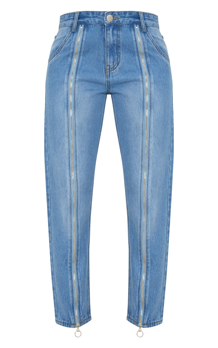 Mid Wash Zip Up Leg Mom Jean 3