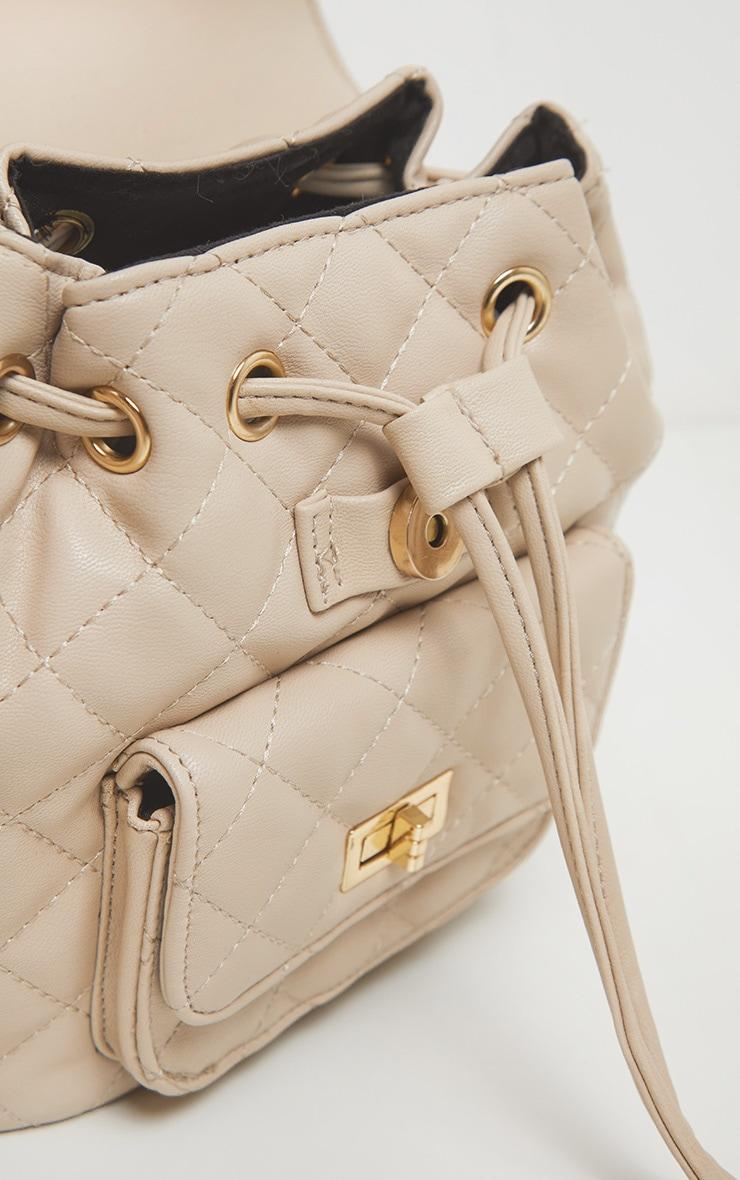 Cream Quilted Medium Backpack 3