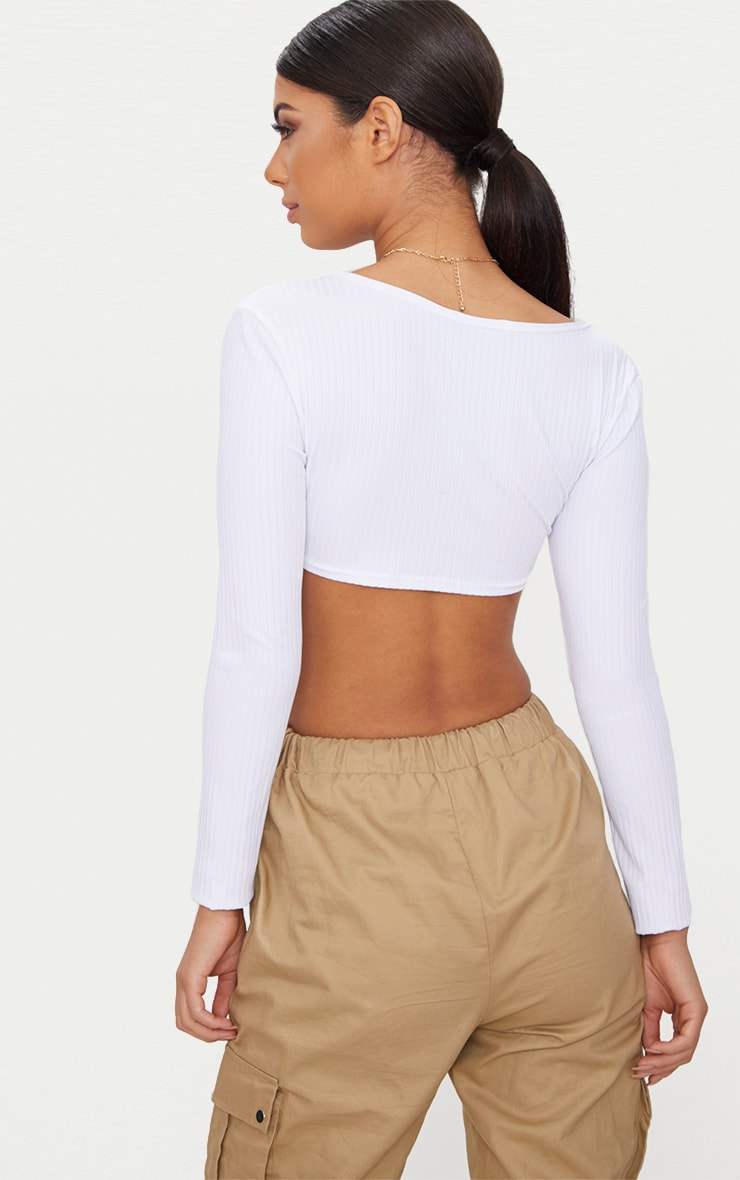 Basic White Rib Longsleeve Crop Top  4