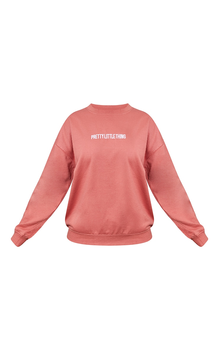 PRETTYLITTLETHING Dusty Rose Embroidered Slogan Sweater 5