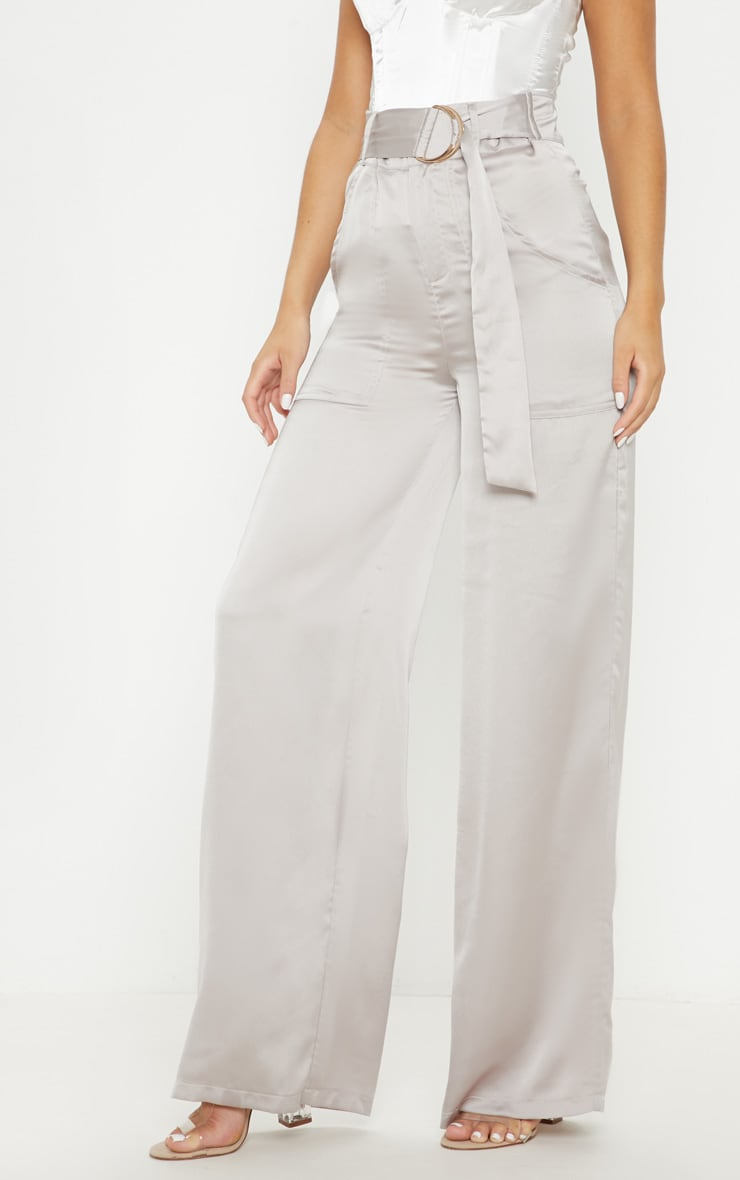 Silver Grey Satin D Ring Belt Wide Leg Trouser 2