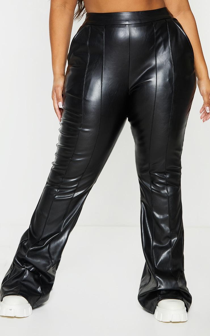 Plus Black PU Seam Detail Trousers 2