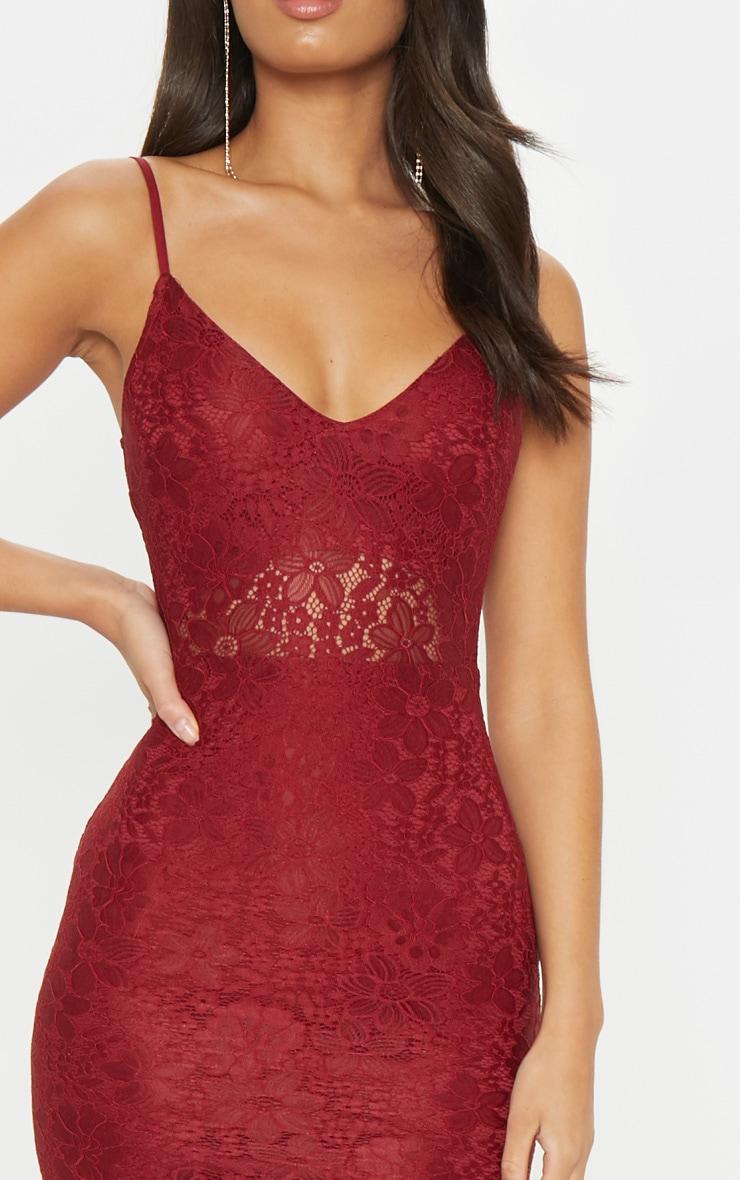 Burgundy Lace Plunge Midi Dress 6