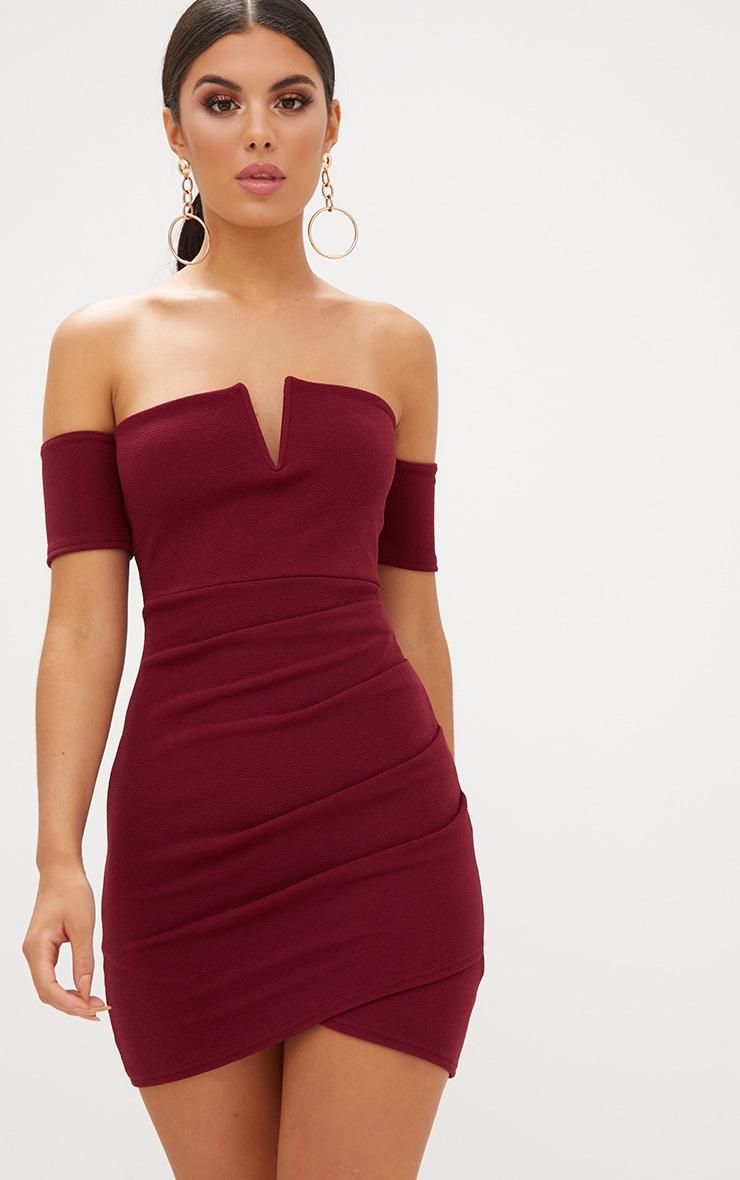 Burgundy Bardot Wrap Front Bodycon Dress