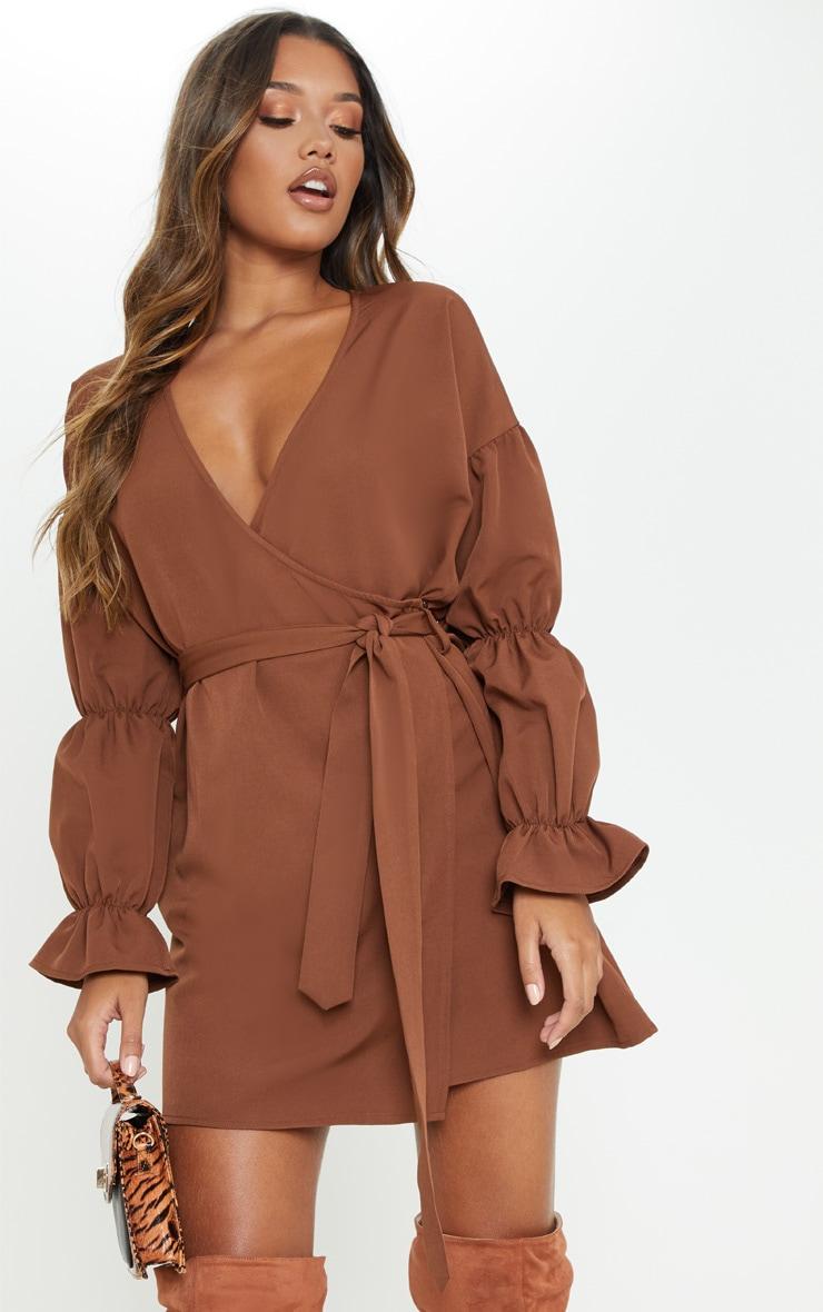 Chocolate Wrap Puff Sleeve Shift Dress 4