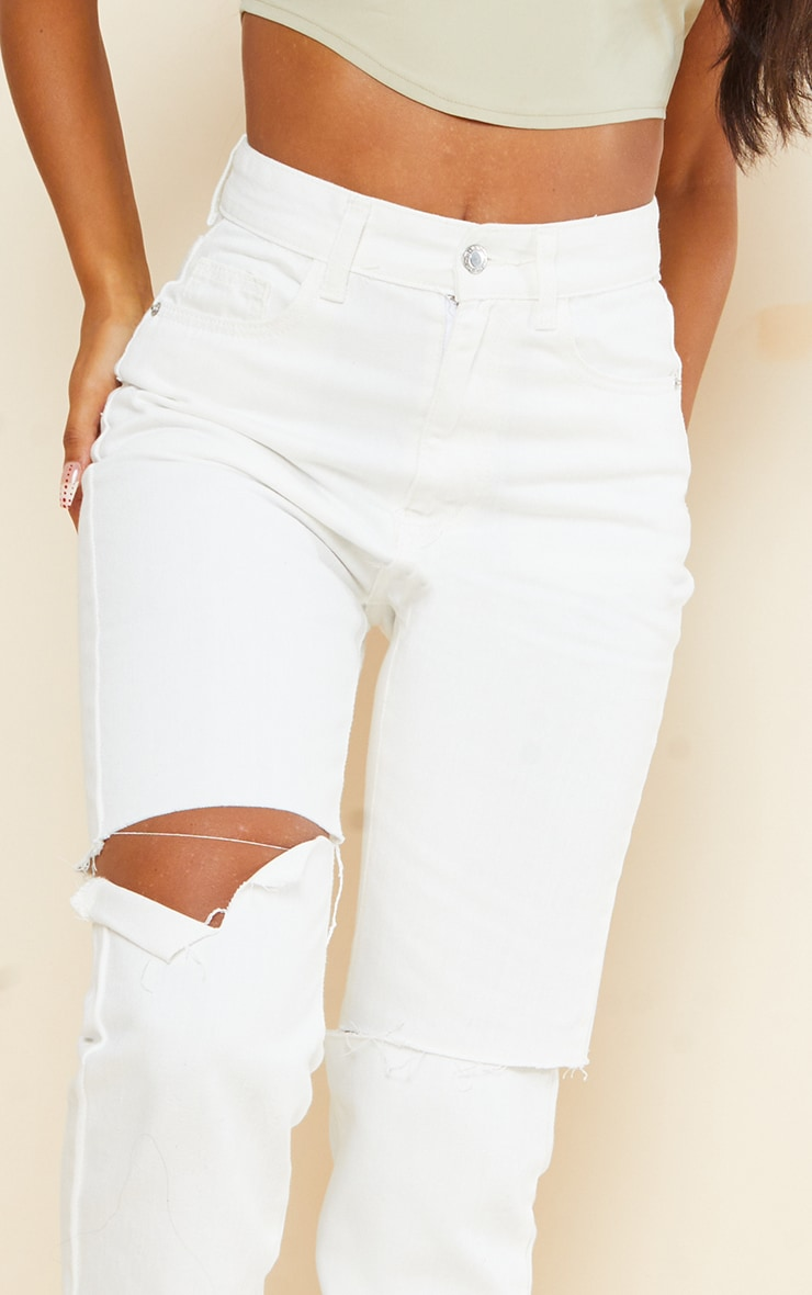 Off White Slash Knee Long Leg Straight Leg Jeans 4
