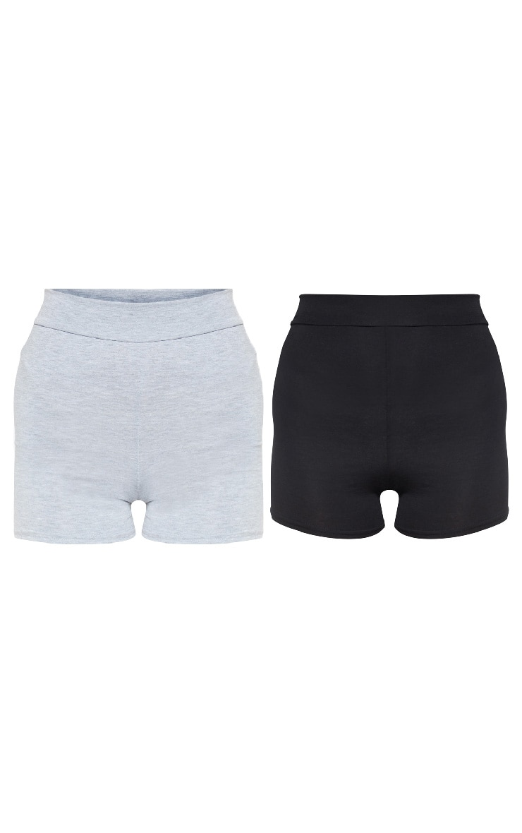 Essential Black and Grey Jersey 2 Pack Hot Pants 3