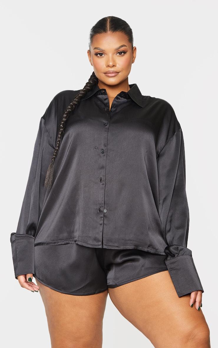 Plus Black Long Sleeve Shorts Satin PJ Set 1