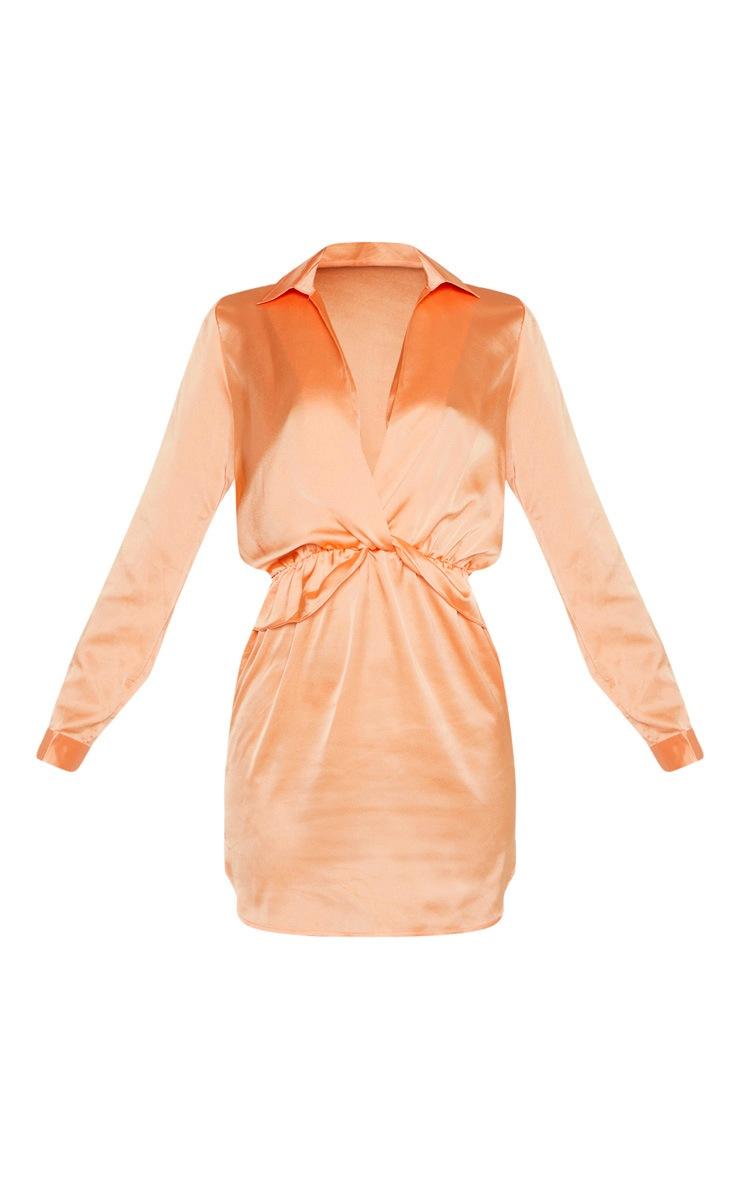 Peach Twist Front Silky Shirt Dress 3