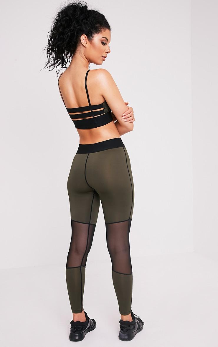 Leona legging de sport à empiècements en tulle kaki 1