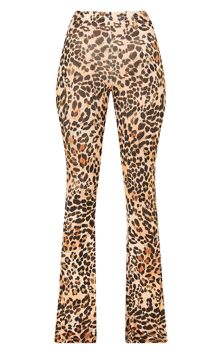 Brown Slinky Leopard Print Flared Trousers 4