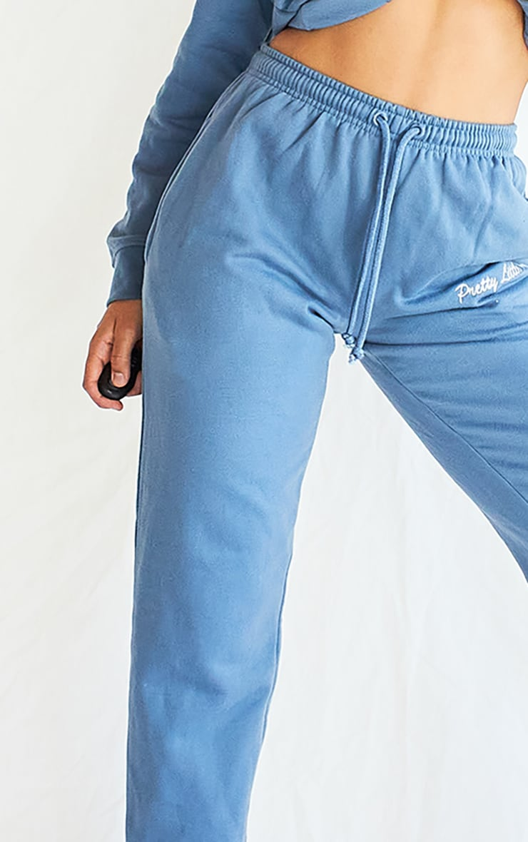PRETTYLITTLETHING Dusty Blue Embroidered Joggers 4