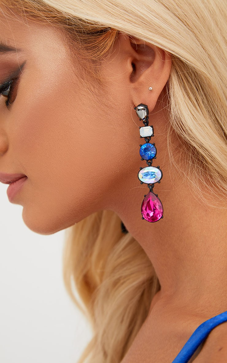 Multi Jewelled Drop Earrings 3