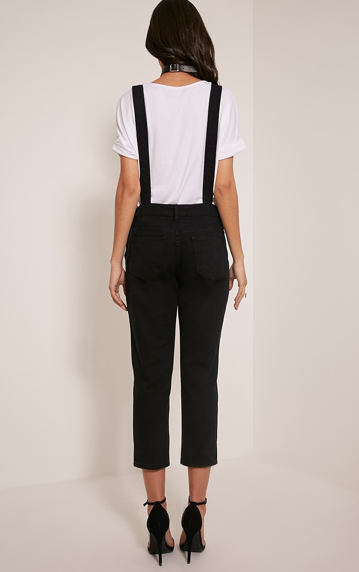 Carla Black Extreme Rip Cropped Denim Dungarees 2