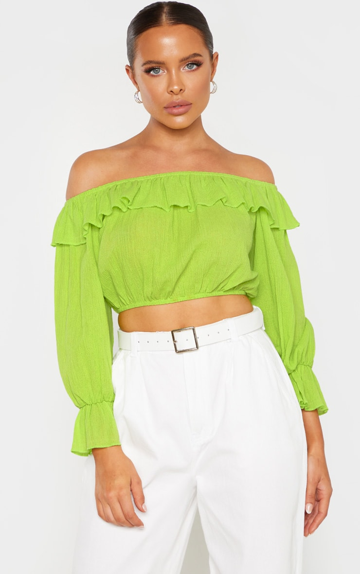 a3618e5c61a Neon Lime Woven Frill Bardot Long Sleeve Crop Top