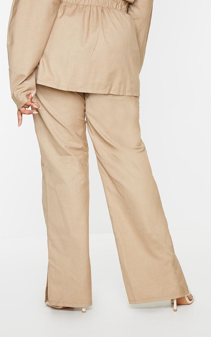 Plus Camel Elasticated Waist Wide Leg Trousers 3