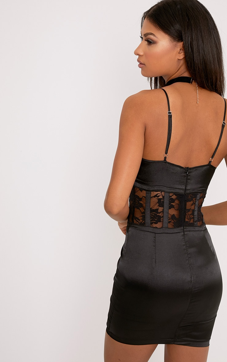 Kadija Black Satin Lace Corset Detail Bodycon Dress 2